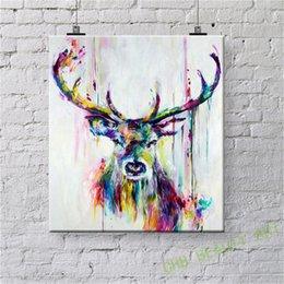 Картина маслом HD Print, Красочный олень, 24x24inch Wall Art Decor для гостиной Home Современное оформление в рамке / без рамки