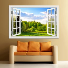 Chinese  Amazing Forest Tree 3D Wall Sticker Removable Window View Landscape Wallpaper Home Decor manufacturers