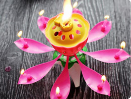music birthday candles UK - 2018 New Velas Decorativas Newest Music Candle Birthday Party Wedding Lotus Sparkling Flower Candles Light Event Festive Supplies