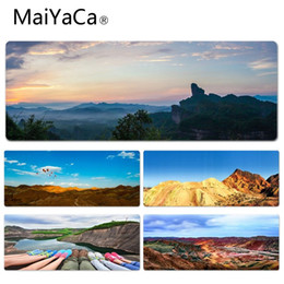 Cool Rubbers Canada - MaiYaCa Vintage Cool Danxia Landform Computer Gaming Mousemats Size for 30x60cm 30x90cm Rubber Mouse Pad