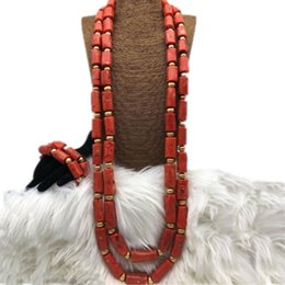 Red Coral Beads Set Australia - 4UJewelry Jewelry Set 2018 Genuine Coral Beads Necklace Jewellery Set Orange Or Red Groom Fine Dubai Jewelry for Men Fashion