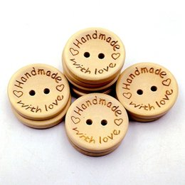 craft wholesale wooden natural buttons Australia - Natural Color Wooden Buttons handmade love Letter wood button craft DIY baby apparel accessories