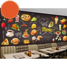 Discount wall mural paper - New Non Woven Fabric Wall Sticker Large Mural Pasta Fast Foods Western Restaurant Wallpaper Hand Paint Pizza Dessert Ham