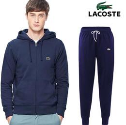 CroCodile suit online shopping - 2019 Spring Men Sportswear Men s Clothing Suit Male Crocodile Embroidery Set Hoodie Pant Running Set Mens Cotton Tracksuit Athleisure Suits