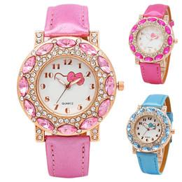 5e11b47867c Girl Fashion Cute Cartoon Watch Lovely Hello Kitty Children Quartz  Wristwatches Inlaid with Crystal Rhinestone for Women Pairing