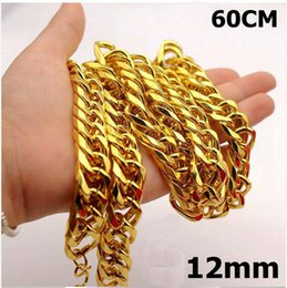 New Big Yellow Solid Gold Filled Cuban Chain Necklace Thick Mens Jewelry Womens Cool For Dad Boyfriend Birthday Gift A2