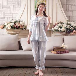 2017 New Fashion Lady Sleepwear Women s Cotton Pajamas Sets Vintage Sweet  Princess Lace Women Pyjamas Set dd6f6dad0