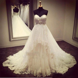 $enCountryForm.capitalKeyWord Australia - Vintage Beaded Lace Wedding Dresses Sweetheart Ivory Tiered Tulle Plus Size Bridal Gowns Corset A Line Wedding Gown
