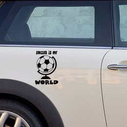 reflective sports car stickers Canada - Soccer Is My World Heart Vinyl Decal Car Sticker Love Sport Ball Cleats