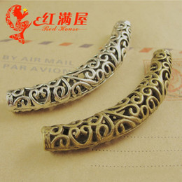 Findings For Jewelry Making Canada - A3984 16*66MM Antique silver Retro large hole elbow fitting DIY material long bent tube charms for leather rope jewelry making finding