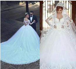 $enCountryForm.capitalKeyWord Australia - 2018 Modern Arabic A Line Wedding Dresses Said Mhamad Sweetheart Long Sleeves Lace Appliques Beads Long Chapel Train Plus Size Bridal Gowns