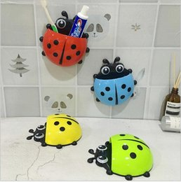 Bathroom Shelves 1pc Cute Novelty Ladybug Toothbrush Holder Toiletries Toothpaste Holder Bathroom Sets Suction Tooth Brush Container