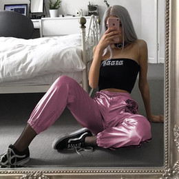 Pink Sweat Pants NZ - NCLAGEN 2018 New Women Spring Autumn Pink Side Stripe Trousers Tigers Print Fashion Casual Joggers Sweatpants Trend Sweat Pants S914