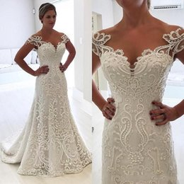 Lace Wedding Dresses Australia - 2018 Cheap Wedding Dresses Luxury A Line Sheer Neck Full Lace Appliques Cap Sleeves Beaded Trumpet Sweep Train Plus Size Formal Bridal Gowns