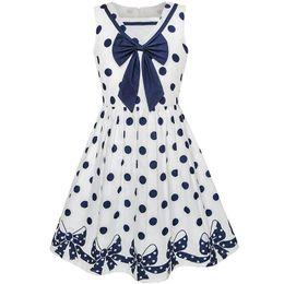 3d692171 Sunny Fashion Girls Dress Navy Blue Dot Bow Tie Back School Uniform Cotton  2018 Summer Princess Wedding Party Dresses Size 5-12