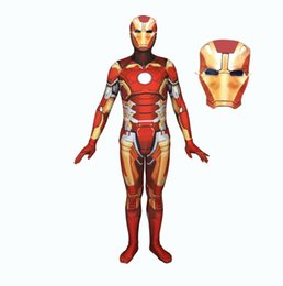 hero masks UK - 2018 Halloween 3D Print Iron Man Cosplay Siamese Tights Halloween Cosplay Costume with Mask free shipping
