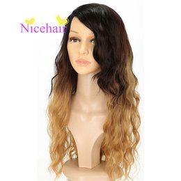 Chinese  Hot & Fashion Long wavy Ombre Black Brown Curly High Temperature Fiber Wig for Women Cosplay Wigs manufacturers