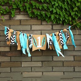 Beach wedding ties online shopping - Popular Baby Highchair Buntings Hawaii Beach Rag Tied Pull Flags For Birthday Party Wedding Decorations Scene Layout Banner jz B