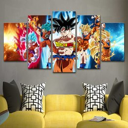 $enCountryForm.capitalKeyWord Australia - Vintage Home Decoration Paintings On Canvas Posters 5 Panel Anime  Goku Framework Pictures Prints On The Wall