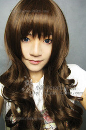 long wavy hair pictures NZ - 100% Real Hair! New Fashion Long Light Brown Cosplay Wavy Curly Wig >>Free shipping New High Quality Fashion Picture wig