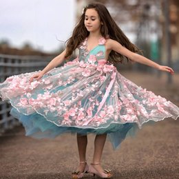 Fabulous ball gowns online shopping - Pink D Floral Flower Girl Dress V Neck Beaded Sleeveless Handmade Flower Birthday Gown Fabulous Sea Green Tulle Fluffy Girls Pageant Dress