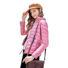 Jacket Down Designer Canada - Autumn Spring Down Jacket 2018 Fashion Designer Women Clothes White Duck Filling 14 Colors Light Plus Size Coat