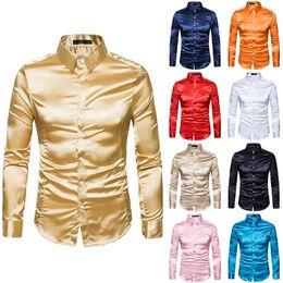 Discount wedding dresses men slim - Silk Shirt Men 2018 Satin Smooth Men Solid Tuxedo Shirt Business Chemise Homme Casual Slim Fit Shiny Gold Wedding Dress