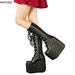 1f5b7e0514a4 HAIYUELI Big Size 34-43 Womens Fashion Punk Style White Black Cosplay Boots  Square Toe Wedges Platform Boots Leather Long