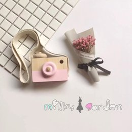 Toy Camera Wholesale Australia - Cute Wooden Toys Camera Baby Kids Hanging Camera Photography Prop Decoration Educational Toy Birthday Children's Day Gifts