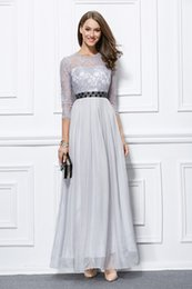 Vintage Lace Mother Bride Canada - 2018 Newest Grey Mother Of The Bride Dresses with Long Sleeves Beaded Sash Vintage Lace Formal Evening Dress Party Gowns