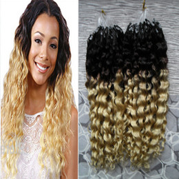 apply hair Australia - Ombre 1B 613 Virgin Mongolian Afro Kinky Curly Hair 200s Apply Natural Hair Micro Link Hair Extensions Human 200g Micro Bead Extensions