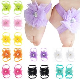 BaBy foot ties online shopping - Baby Sandals Flower Shoes footband Barefoot Foot Flower Ties Lace Flower Sandals baby Barefoot Sandals Photography Props KFA12