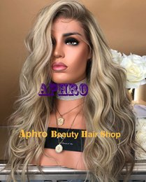 Glueless European Lace Wigs Australia - Luxury Dark Roots Ombre Blonde Silk Top Full Lace Wigs European Human hair 180% Density 20-30 Inch Silk Base Glueless Wigs With Lowlights