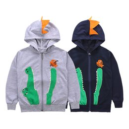 boys dinosaur jacket NZ - Kids Dinosaur patchwork Hoodies Childrens boys fashion dinosaur embroidery zipper hooded jacket for 2-7T 2018 new autumn clothing