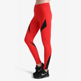 yoga pants dancing UK - Red&Black Tight Yoga Pants Women Sports Leggings Yoga Running Pants Gym Dancing Fitness Leggings Breathable Pants