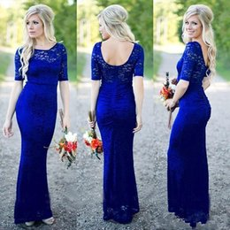 2018 Royal Blue Full Lace Country Bridesmaids Dresses Short Sleeve Open Back Floor Length Maid Of Honor Wedding Guest Gowns Customized