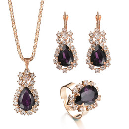 Light Green Jewelry Sets NZ - Fashion Wedding Gift Jewelry Gold Color Water Drop Shape Crystal Earrings Necklace Adjustable Rings Set Women Jewelry Sets