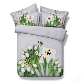 $enCountryForm.capitalKeyWord NZ - 3D white flowers Duvet Cover bedding sets queen floral Bedspreads Holiday Quilt Covers butterfly Bed Linen Pillow Covers stream bamboo green