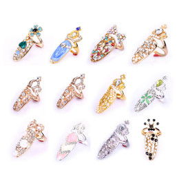 Finger Ring Types NZ - Women Fashion Bowknot Crown Crystal Finger Nail Art Ring Jewelry Fake Nail Art For 12 Types Available Decorations