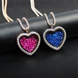Diamond Floats Australia - Diamond Heart Floating heart Locket Necklace DIY Necklace Glass Frames Charm Locket Pendant Necklace Christmas Jewelry For Girlfriend