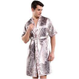 Chinese Men Sleepwear Home Wear Casual Male Robe Bathrobe Kimono Gown Satin  Rayon Nightwear Printed Flower Intimate Lingerie 7e1a98c6b