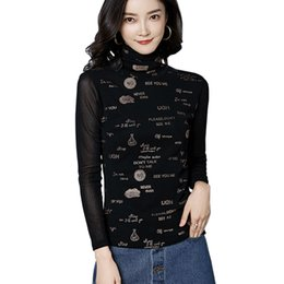 Chinese  Female letters t-shirt Sexy Blusas Turtleneck t shirt Women 2018 New Transparent Long Sleeve Ladies Mesh See Through Tops Shirt manufacturers