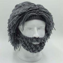 $enCountryForm.capitalKeyWord Canada - NaroFace Handmade Knitted Men Winter Crochet Mustache Hat Beard Beanies Face Tassel Bicycle Mask Ski Warm Cap Funny Hat Gift