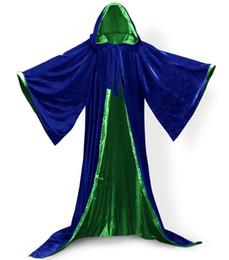 Nylon Coating Australia - Long Sleeves Velvet Hooded Cloak Wedding Cape Halloween Wicca Christmas Winter Hallowe Wedding Cloaks Wedding Bridal Wraps Bridal Coat