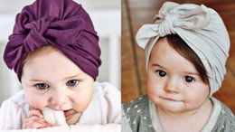 Hair Extensions India NZ - Fashion 9 colors Baby Hats Bunny Ear Caps Turban Knot Head Wraps Infant Kids India Hats Ears Cover Childen Milk Silk Beanie