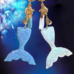 fish resin pendant 2019 - 2018 Fashion 1 PC Mermaid Tail Keychain Ring Bingbing Plastic Fish Car Key Holder Women Bag Leather Tessal Pendant Keyri