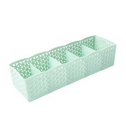 Green Box Containers Australia - 5 Cells Plastic Organizer Storage Box Tie Bra Socks Drawer Cosmetic Divider High Quality Housekeeping Container Organizers