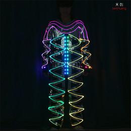 $enCountryForm.capitalKeyWord NZ - TC-172A Full color led mirror dance clothes ballroom led costumes stage light RGB colorful fiber light men robot wears suit led performance