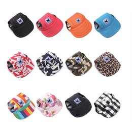 Baseball Hat Wholesalers Canada - Multi-color Optional Dog Hat with Ear Holes Summer Canvas Baseball Cap for Small Pet Dog Outdoor Hiking Pet Peaked Cap Supplies