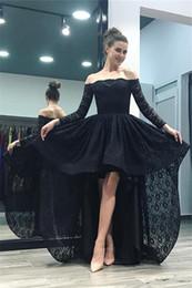 585675c31c7 Prom Dresses 2018 Chic Black Sexy Off-Shoulder Hi-Lo Lace Evening Gowns  A-Line Long Sleeves Elegant Plus Size Custom Made Vestidos De Festa